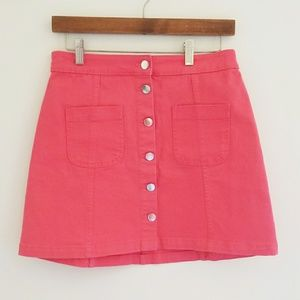 Divided H&M Button Front Coral Denim Skirt Size 6